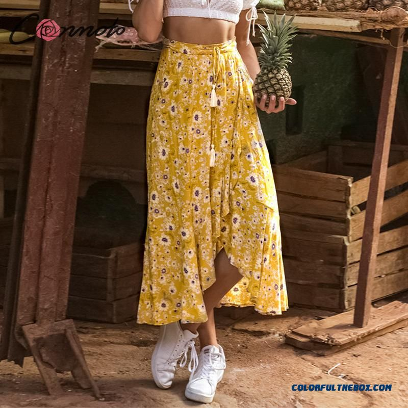 Conmoto Long Yellow Beach Bohemian Women Skirt Split Ruffle Summer 2019 Tassel High Waist Skirts Casual Female Skirts