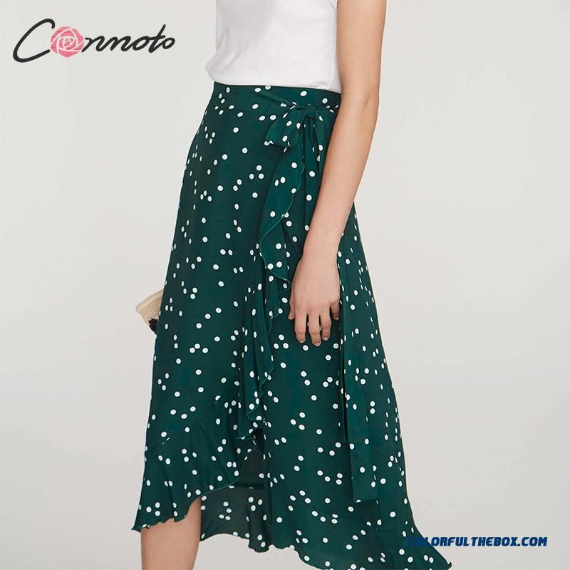 Conmoto Summer 2019 Midi Elegant Mid Skirt Women Wrap Green Polka Dot Ruffle Casual Skirts Beach Girls Skirt