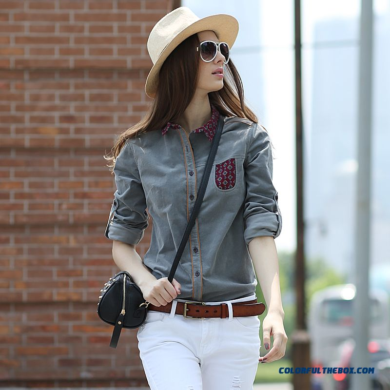 Corduroy Shirts European And American Street Hit Color Blouse Vintage Long-sleeved Shirt For Women