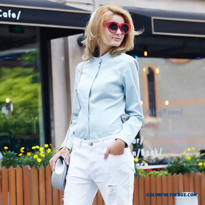 Cotton Denim Fabric Collar Color Embellishment Detachable Collar Cotton Long-sleeved Women Denim Shirt