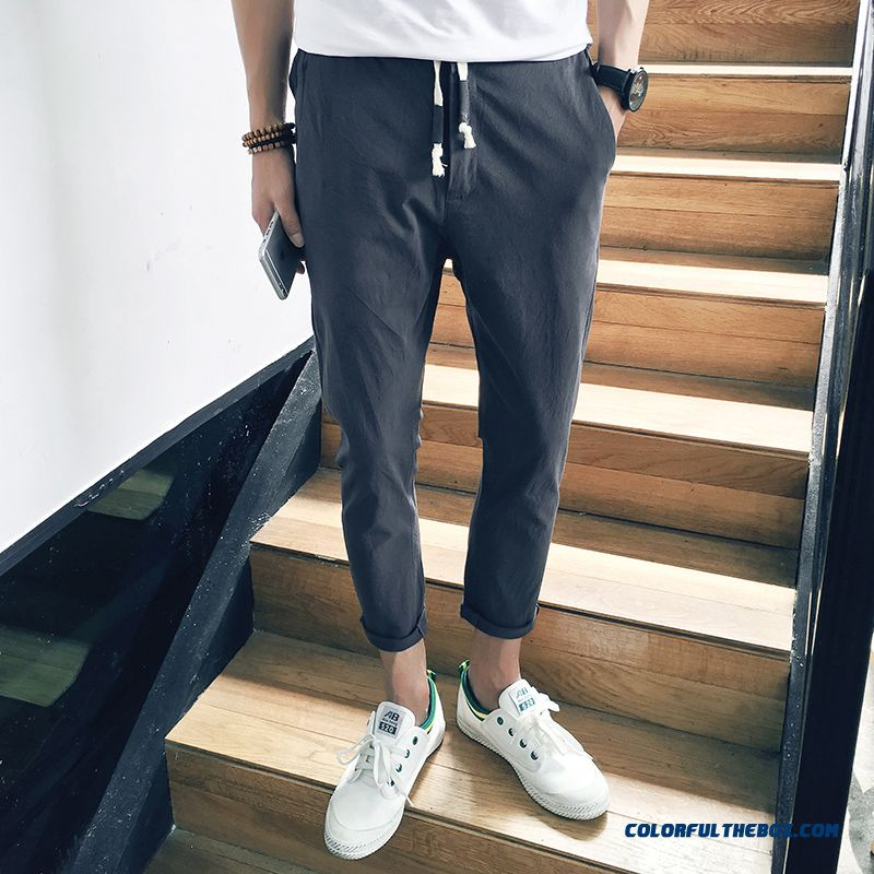 Cotton Leisure Summer Trend Gray Men's Skinny Slim Ninth Pants Harlan Dark Europe