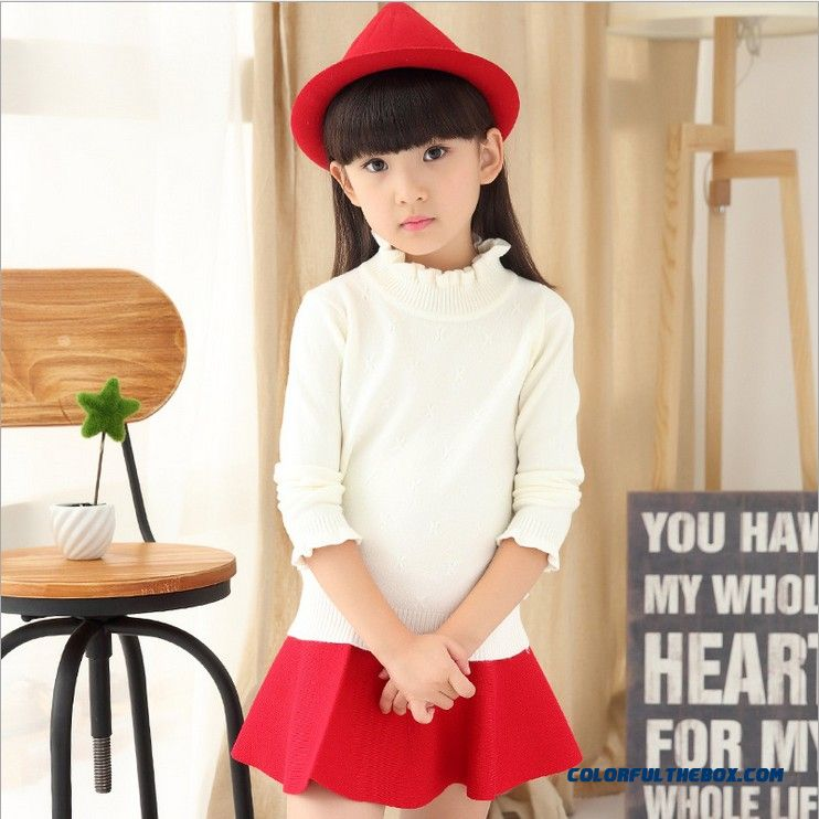Cotton Shirt Black Sweater Girls Big Kids Pullover Standing Collar Sweaters Clothing