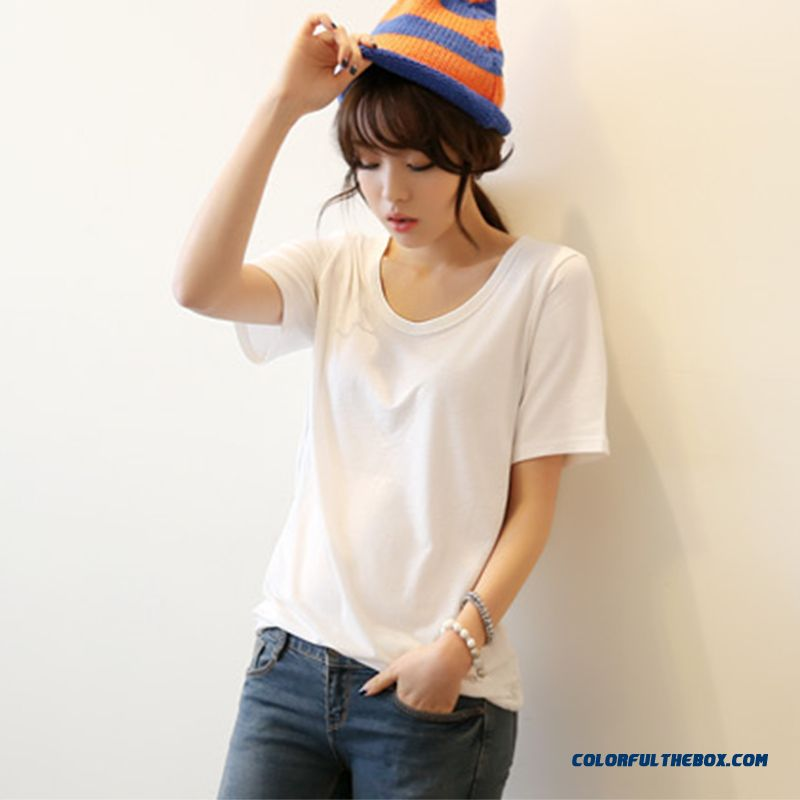 Cotton White Short-sleeved T-shirt Women Loose Shirt Thin Outer Wear