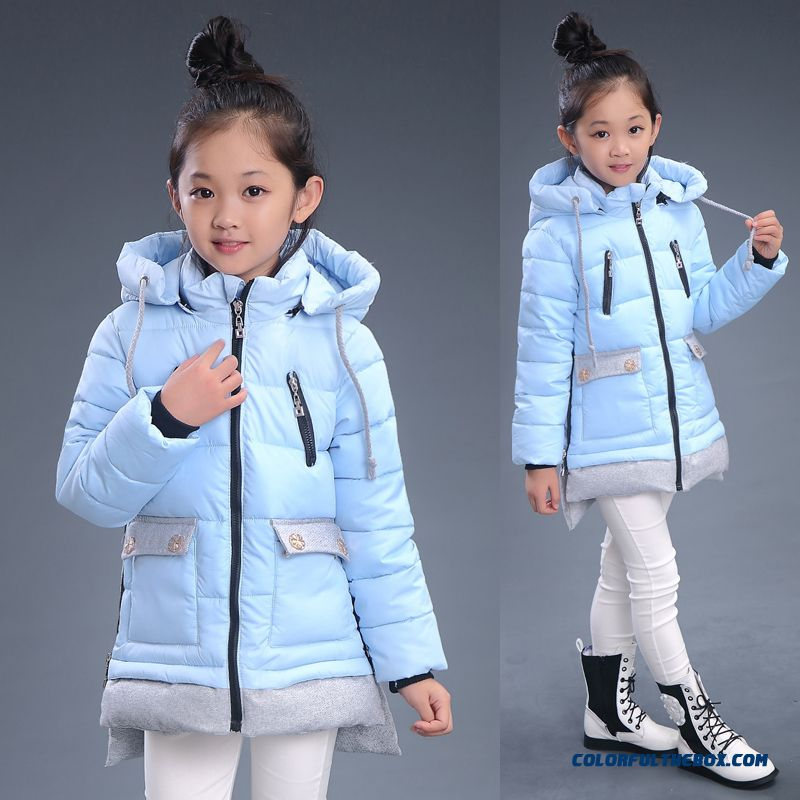 Counter Genuine Girls Warm Thicken Medium-long Winter Coats Free Shipping Blue Clothing