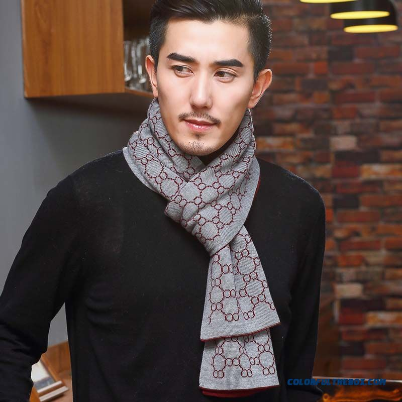 Counter Genuine Men's Wool Scarf Upscale Business Thicken Gift Box Winter Scarves Hats Accessories
