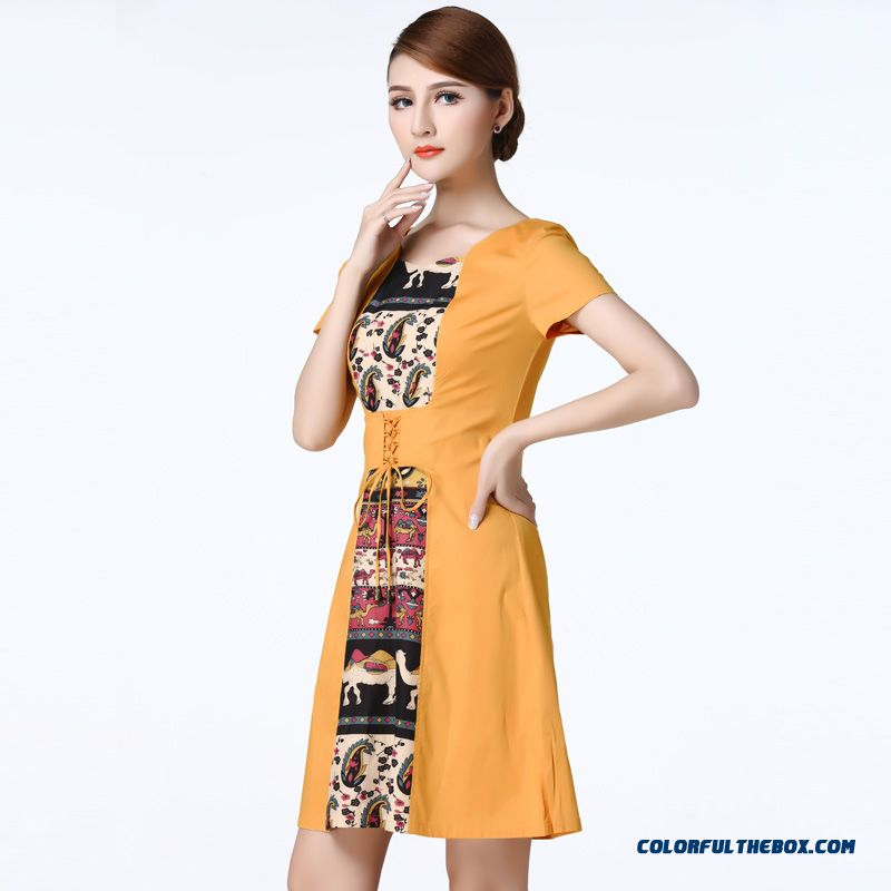 Counter Genuine Short-sleeved Dress Stitchingmiddle-aged Women Characteristics Dress