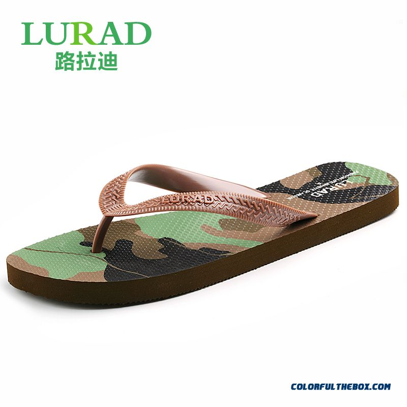Couple Models Camouflage Summer Slippers Flat Antiskid Men's Shoes