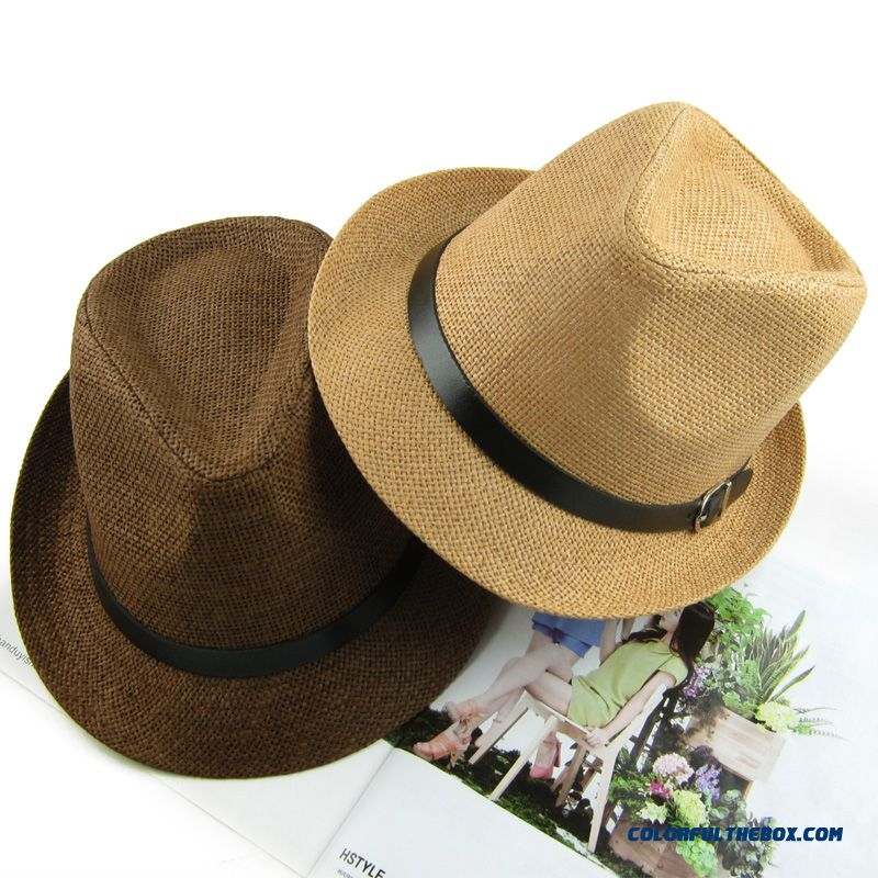 Couple Sunscreen Beach Hat England Style Top Hat Jazz Hat Men's Accessories On Sale