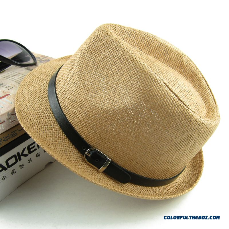 Couple Sunscreen Beach Hat England Style Top Hat Jazz Hat Men s Accessories  On Sale ... f0e456af085