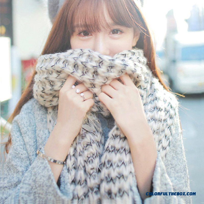 Couples Mohair Shawl Collar Scarves Knit Long Women Long Thick Wool Women Accessories
