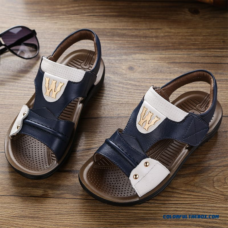 Cowhide Leather Polyurethane Outsole Student Boys Kids Sandals Summer Shoes