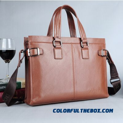 Cowhide Men's Bag Handbag Horizontal Style Of Business Free Shipping Shoulder Laptop Bag Briefcase