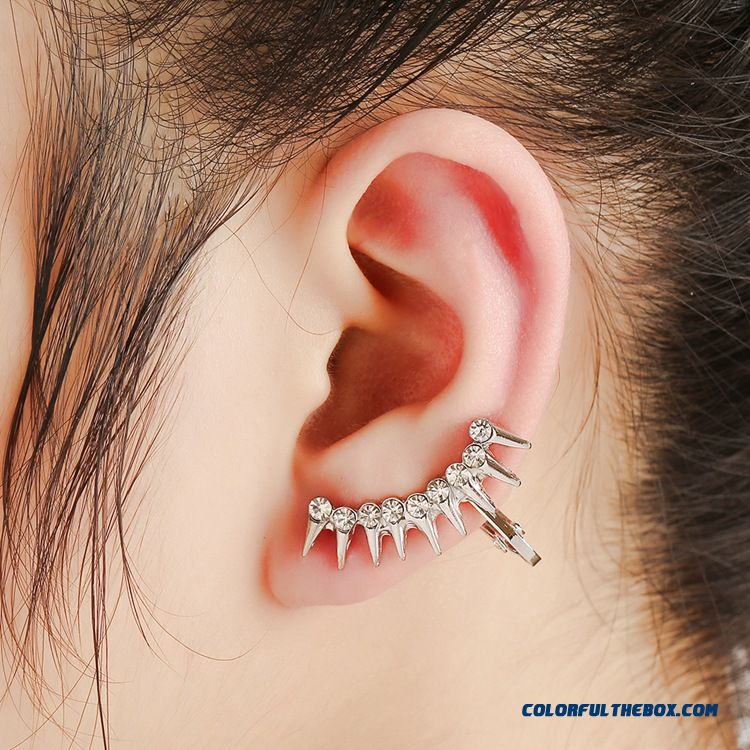 Creative Europe Rivet Punk Ear Jewelry Diamond Earrings Without Pierced Ear Clip Unisex Women