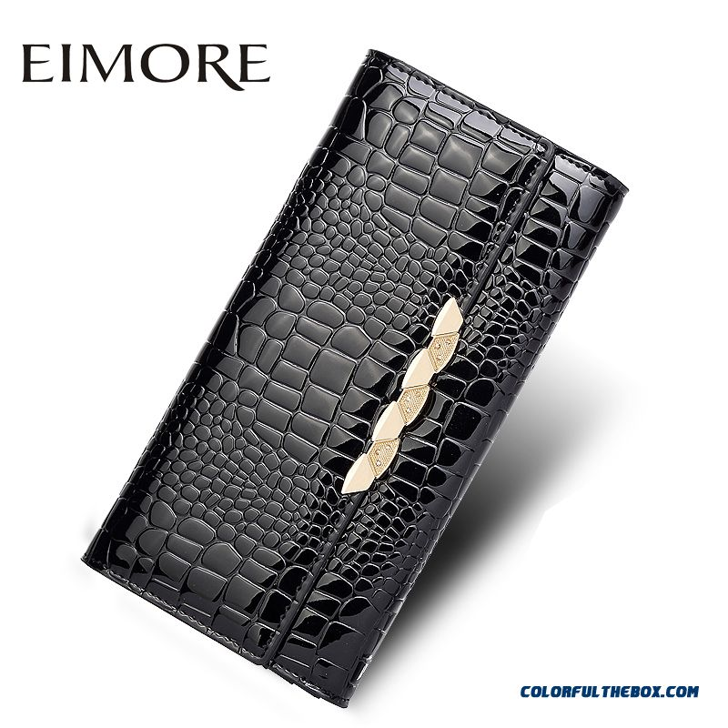 Crocodile Grain Women Long Wallet Black Cowhide Wallets Thin Two-fold Hasp Clutch Bags