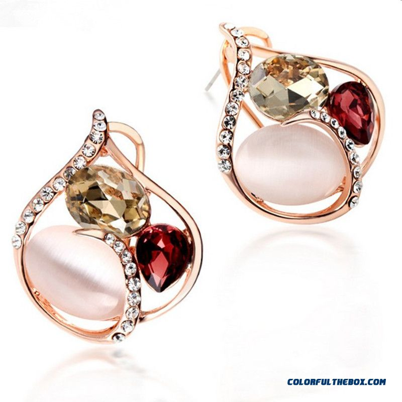 pink rhinestone unique jewellery earrings hot wholesale heart dangle yiwuproducts