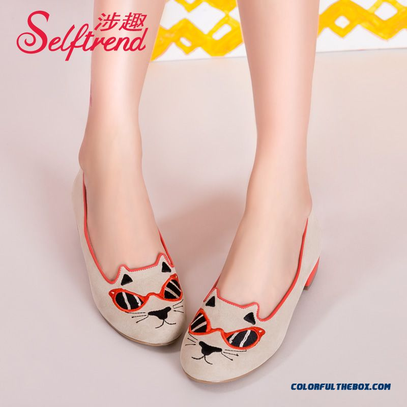 Cute Cat Sunglasses Pattern Suede Women Flat Shoes Round-toe