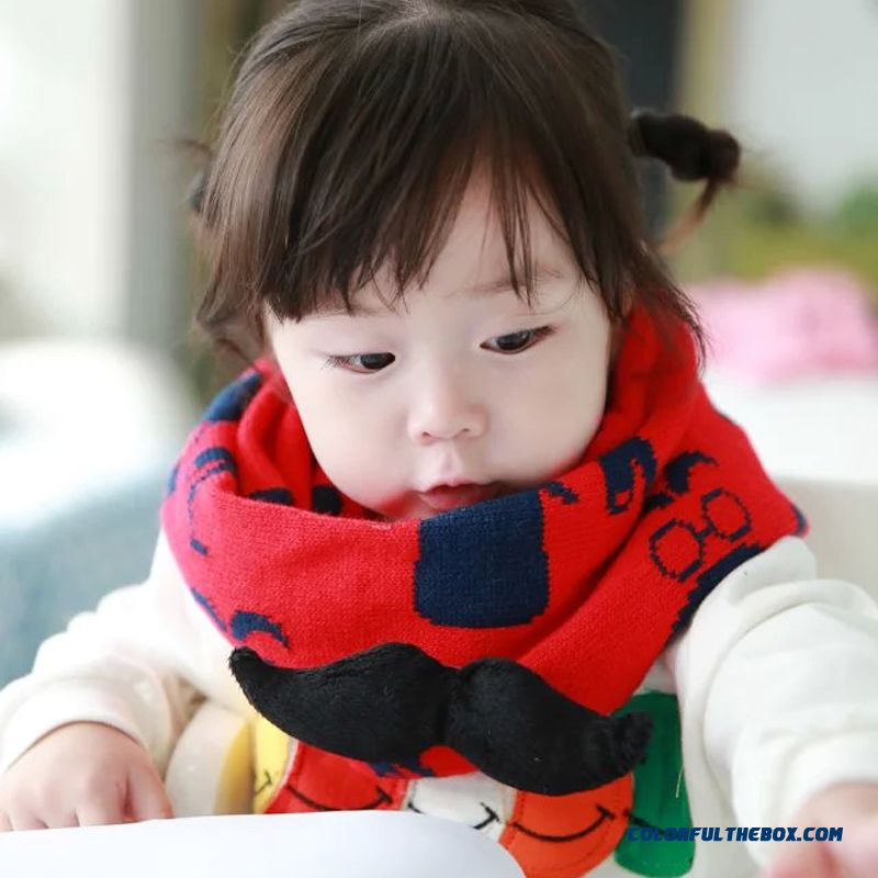 Cute Kids In Autumn And Winter Thick Neck Wrap Boys And Girls Knit Wool Scarf With Brooch Accessories