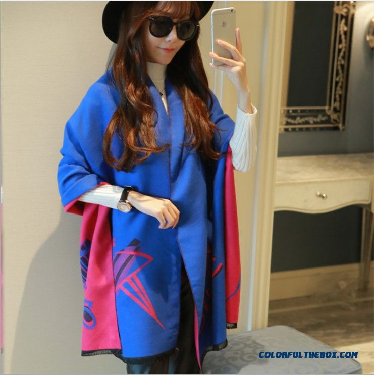 Dancing Girls Cashmere Shawl Scarves Thicker Longer Warm Winter Cloak Scarves For Women - more images 2