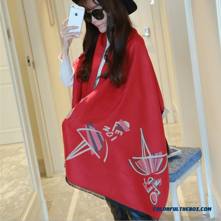 Dancing Girls Cashmere Shawl Scarves Thicker Longer Warm Winter Cloak Scarves For Women - more images 4