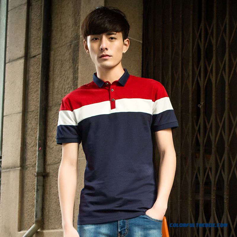 Dark Short Sleeve Men's Mixed Colors Trend Polo Summer Blue Student