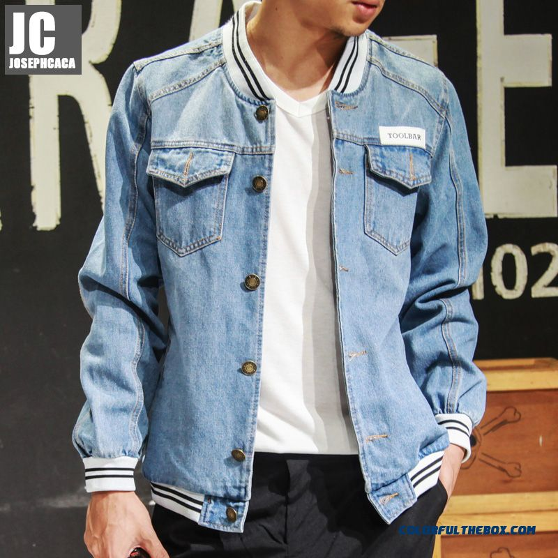 Denim Jackets Men New And Slim Long-sleeved Slim Coat Autumn