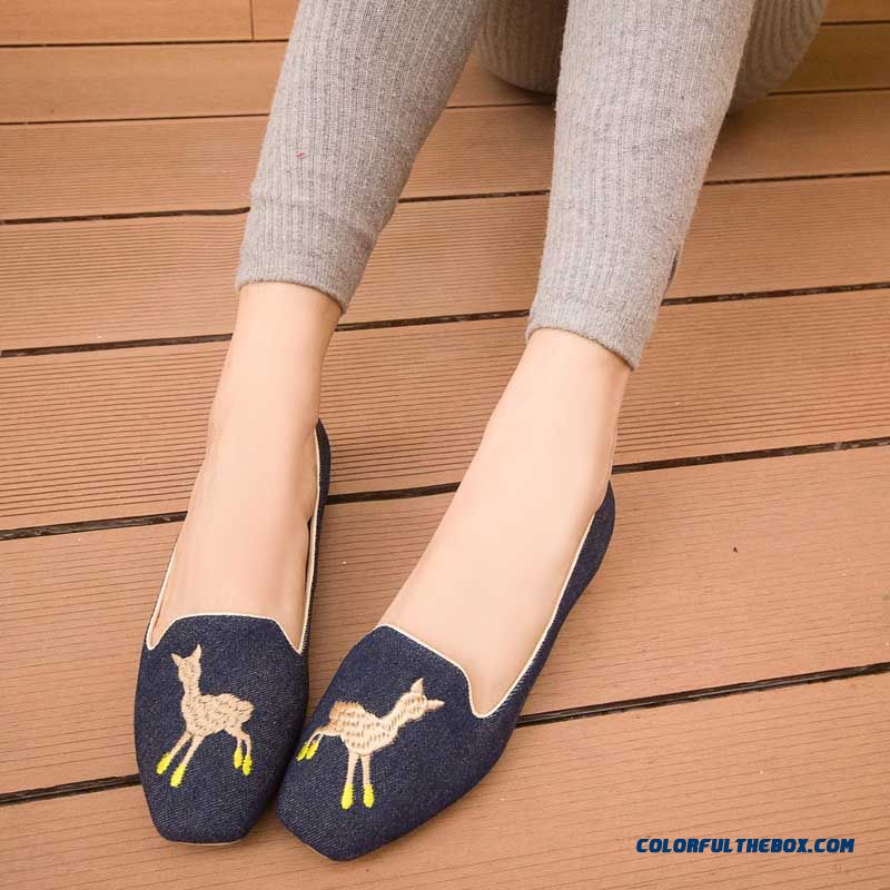 Denim Women Low Permeability Leather Lining Flats Shoes