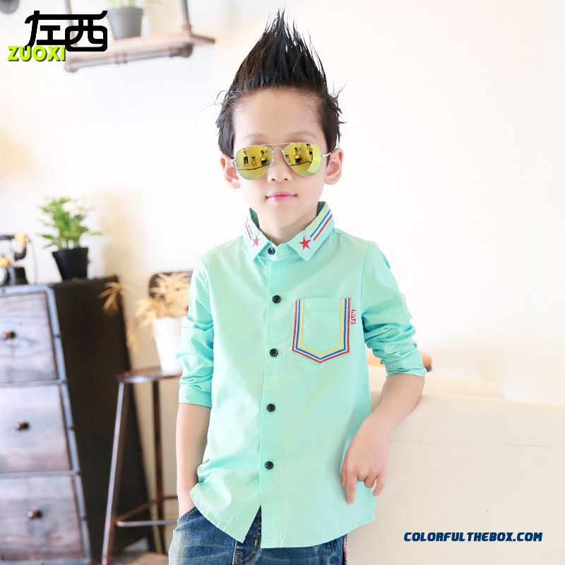 Designed Exclusively Brand Laple Five-pointed Star Pattern Colar Boys' Shirts Kids Clothing Gerrn Blouses
