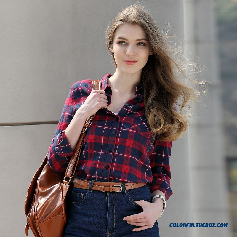 Designed Exclusively British Fashion Slim And Thin Cotton Long-sleeved Plaid Women's Shirt