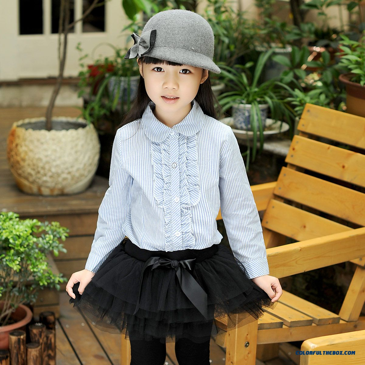 Designed Exclusively Girls Cotton Shirt Kids Long-sleeved Sky Blue Lapel College Style Striped Shirt