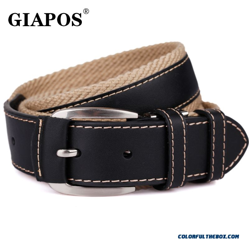 Designed Specifically For Mature Men Giapos Brasnd Men's Canvas Belt Stitching Cowhide Pin Buckle Belt