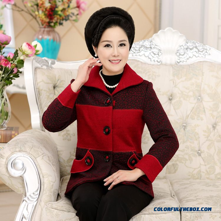 Designed Specifically For The Elderly Women Mother Dclothing Wool Coat Spring