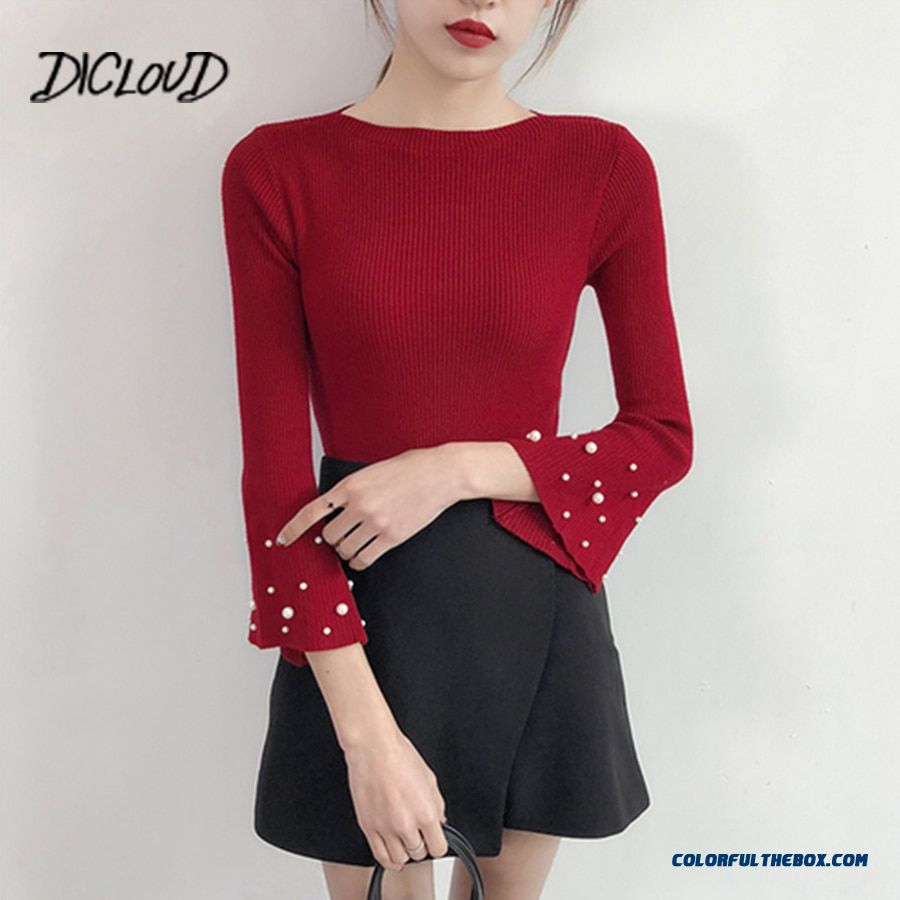 Dicloud 2018 Autumn Korea Beading Sweater Woman Fashion Slim Trumpet Sleeve Sexy Pullovers Female Tops Elastic Knitted Sweaters