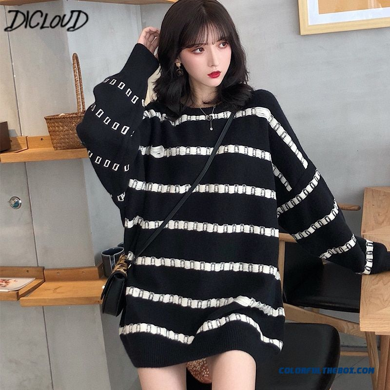 Dicloud Winter Striped Sweaters Women Fashion Long Knited Sweaters Ladies Long Sleeve Pullovers Female Harajuku Casual Tops New