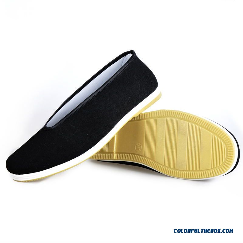 Discount Chinese Kung Fu Shoes Bruce Lee Style Handmade Beijing Cloth Shoes Flats Men Black Flat Shoes Casual