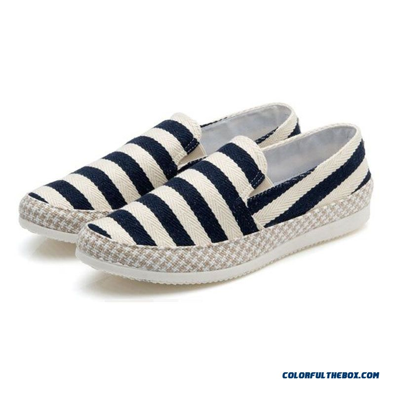 Discount Men Flats Shoes Summer Canvas Shoes Espadrilles Casual Shoes Slip On Breathable Loafers