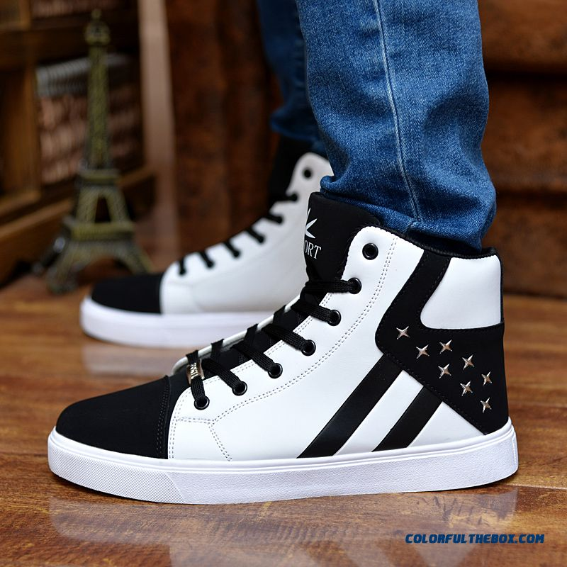 Discount Men Shoes New Autumn Fashion Men Casual Shoes Lace-up Warm Winter Shoes Mixed Color High Top Flat With Mens Shoes