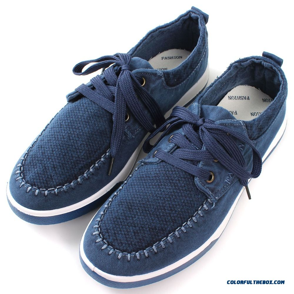 Discount Wholesale Summer Style Men Soft Canvas Male Casual Solid Outdoor Shoes Round Toe Lace-up Breathable Flats