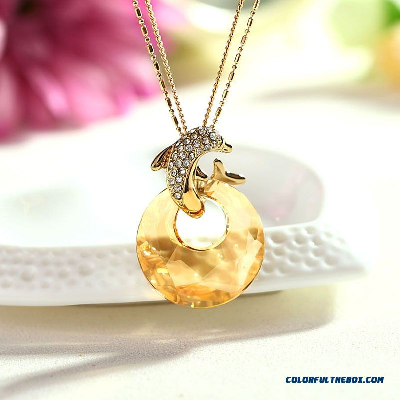 Dolphin Crystal Fine Jewelry Women Ladies Fashion Pendant High-end Jewelry Long Necklace