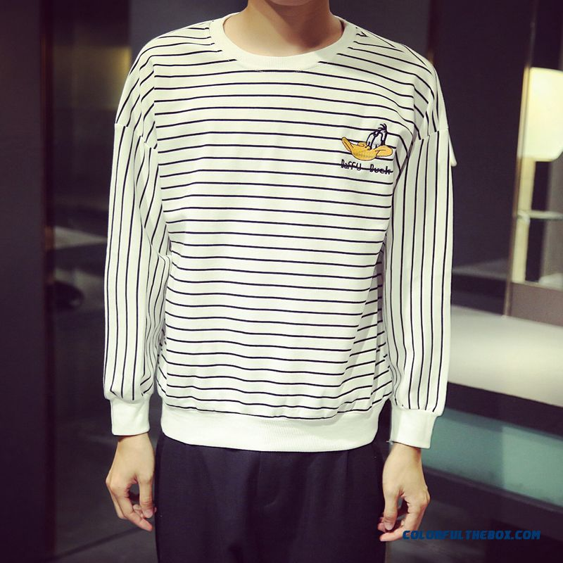 Donald Embroidery Round Neck Pullover Men's Clothing Black And White Striped Sweatshirts