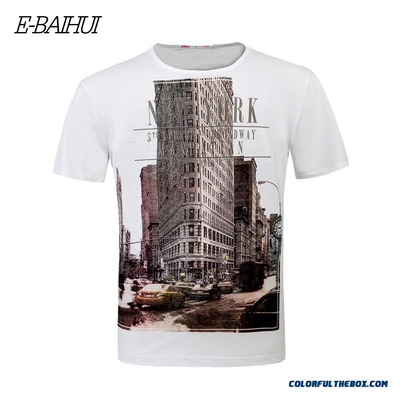 E-baihui 2016 Spring Summer Fashion Hip Hop Men T-shirt New York Printed Fitness Skate Tee Shirt Men Brand Swag Clothing Y050