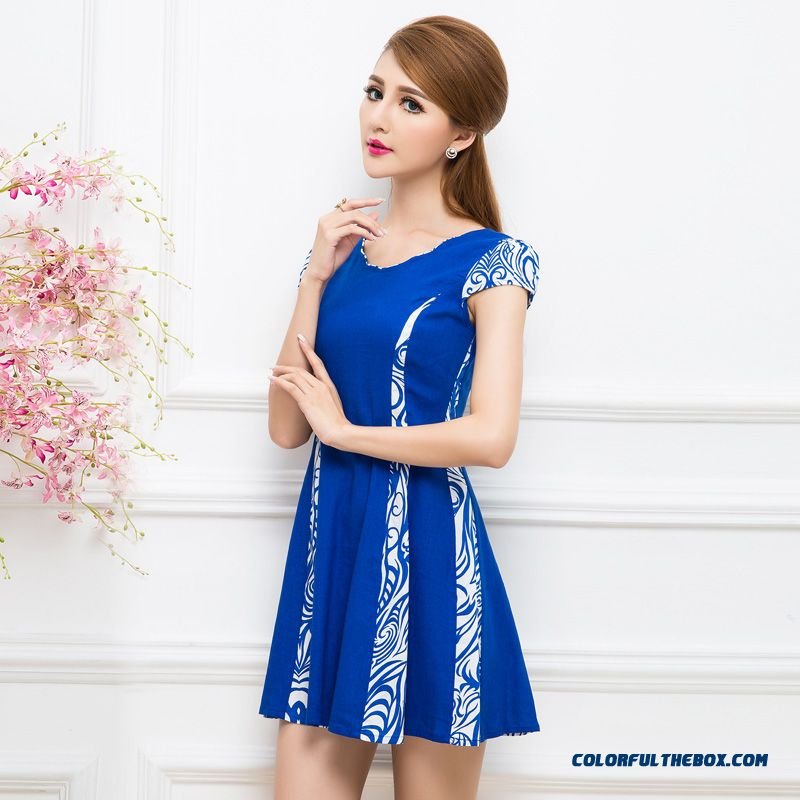Eclusive Design Summer New Short-sleeve V-neck Stitching Slim Slim Dress For Women