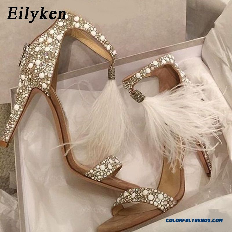 Eilyken Sexy Women Sandals Pumps Summer Rhinestone Zipper Feather High Heel Apricot Women Wedding Pumps Shoes