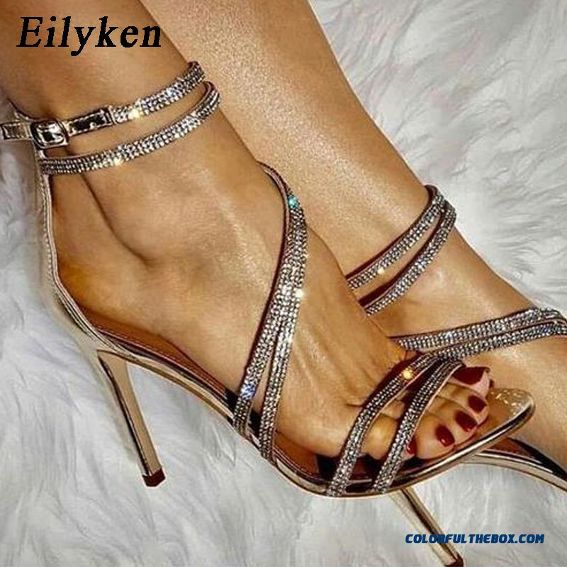 Eilyken Sparkling Champagne Black Diamond Crystal High Heels Women Sandals 2018 New Summer Sexy Club Heels Sandals Women