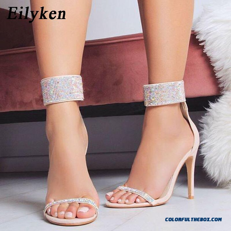 Eilyken Summer Sparkling Diamond Crystal High Heels Women Sandals 2019 New Sexy Club Heels Sandals Women