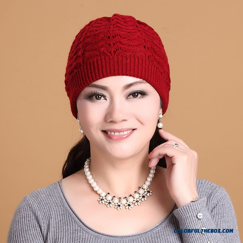 Elderly Ladies Angora Hat Knitted Stylish Keep Warm Accessories Free Shipping