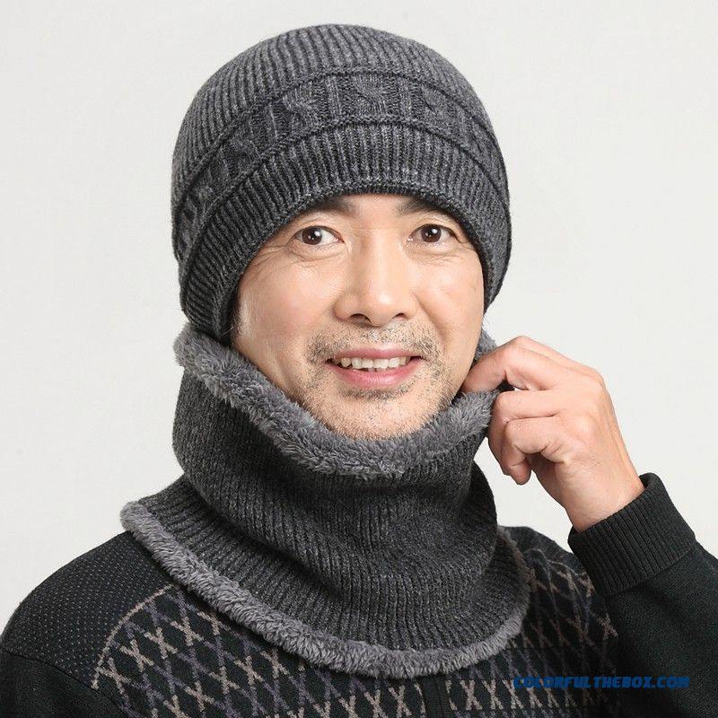 Elderly Men High-end Double-knitted Hat Winter Wool Hat With Same Style Neck Gaiter