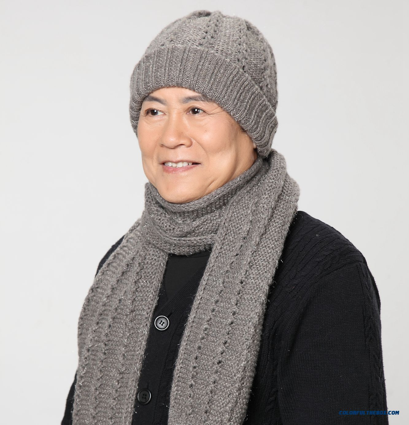 Elderly Men Two Piece Of Winter Accessories Hat And Scarf Warm Rabbit Wool Hat