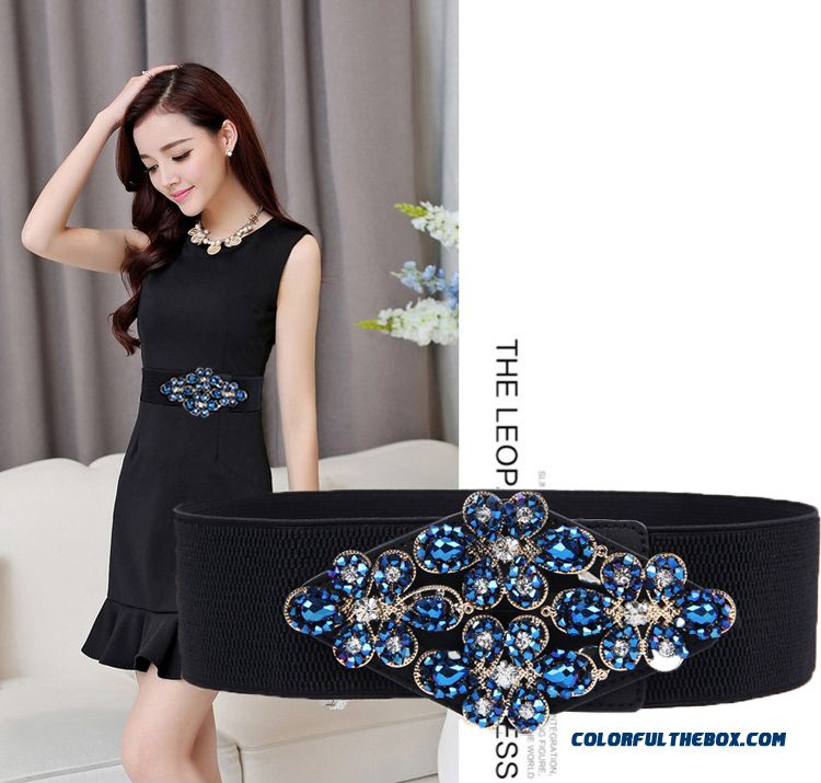 Elegant Ladies Favorite Summer Dress Accessories Women All-match Stretch Rhinestone Wide Belts Cummerbunds