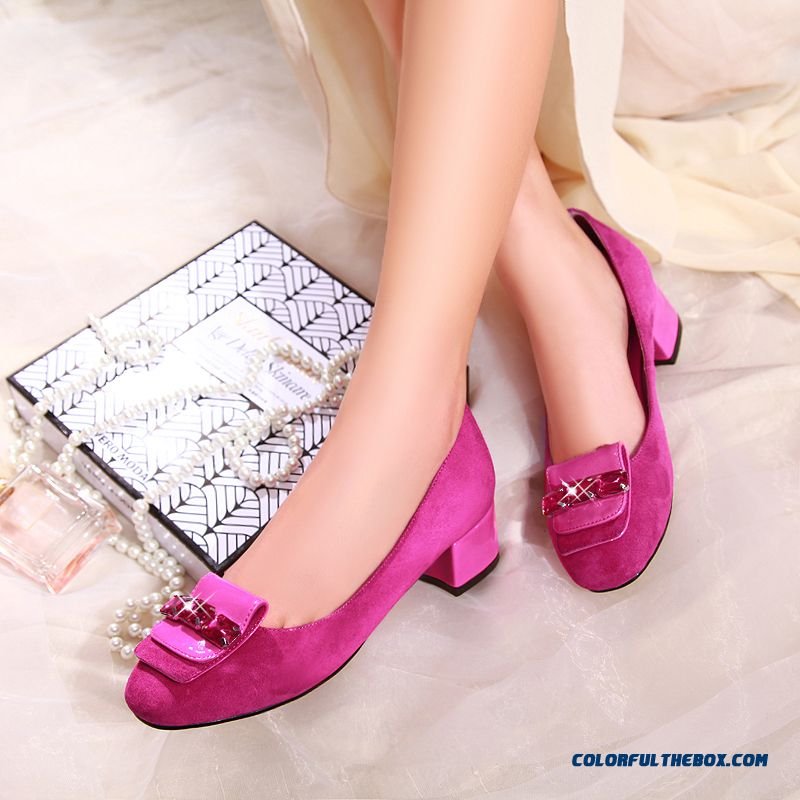 Elegant Rhinestones Shoes Leather Casual Shallow Mouth Rough Heel Middle-heels Women Pumps