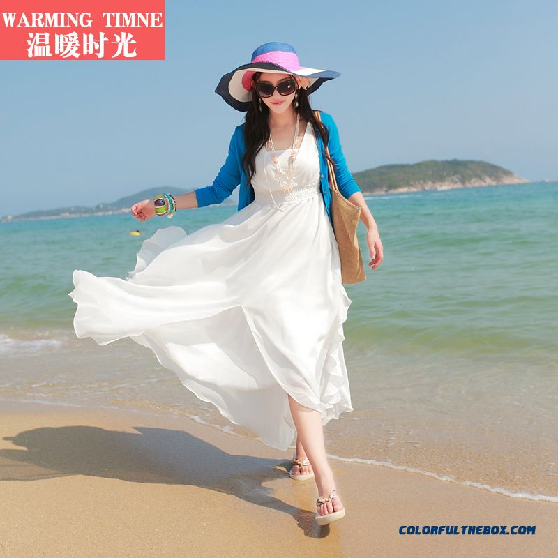 Elegant V-neck Chiffon Women Dress Long Section White Latest Fashion